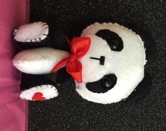 Handmade Heartfelt Black, white, and red, Felt Panda Bear Plush Doll Toy made to order