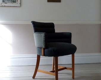 Vintage 1930s Tweed Lounge Chair (B Cohen & Sons)