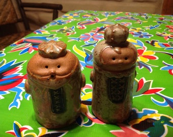 Vintage stoneware King and queen salt and pepper shakers- Viking,  Japan
