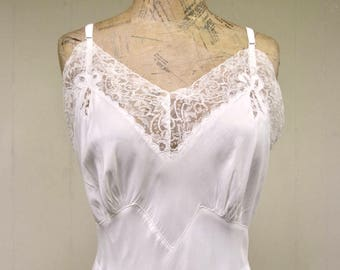 Vintage 1950s Full Slip / 50s White Acetron Lace Seamprufe Slip / 38 Bust
