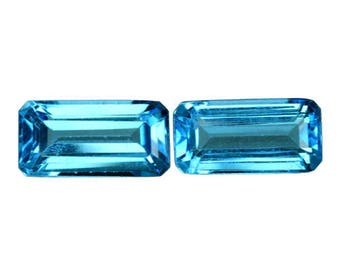 4.465cts formidable top luster blue natural topaz octagon 2pcs loose gemstones