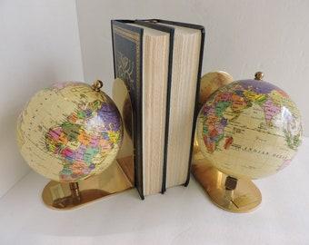 Bookshelf decor etsy vintage world globe brass bookends pair map book holders ornate gold office bookshelf decor gumiabroncs Choice Image