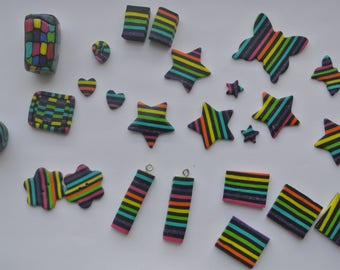 set of 25 pieces of multicolored polymer clay