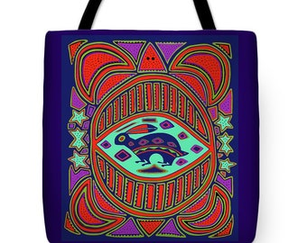 Kuna Indian Turtle and Hare Inspired  Design - Tribal Indian Tote Bag Design - Travel Tote Bag Gift - Turtle Design ReUsable Shopping Bag