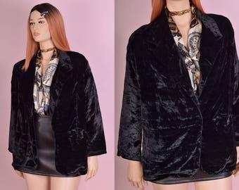 90s Black Crushed Velvet Blazer/ Large/ 1990s/ Jacket