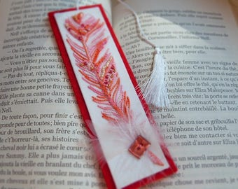 Bookmarks original embroidered hand-embroidered bookmark - gift-bookmarks Handmade embroidered feather - gift