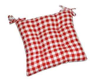 Indoor Cotton Red U0026 White Plaid / Country Checkered Print Fabric Universal  Tufted Cushion With Ties For Dining Kitchen Chair   Choose Size