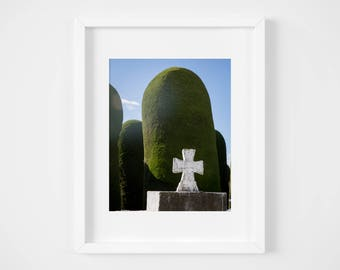 Cross art print - Punta Arenas Chile travel print - Chilean art photography - Modern wall decor - Patagonia photo print - Cemetery print