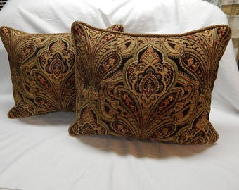 Velvet Damask Pillow Pair