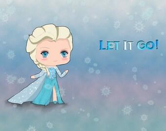 Cute Chibi Elsa Print