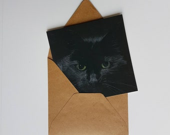 Black cat, print of a pasteldrawing, double card with envelope