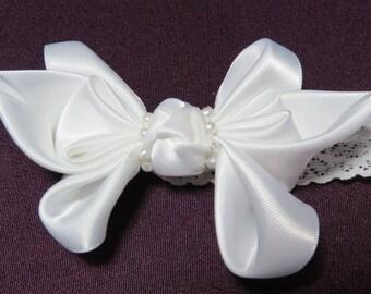 Small Kanzashi - Kanzashi, Baby, Baptism, Barrettes, Christening, Clips, Flower, Girl, Accessories, Bow, Jewelry, Headband, Ribbon, Wedding