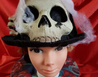 REDUCED New one off felt covered top hat for halloween, skull front (3)