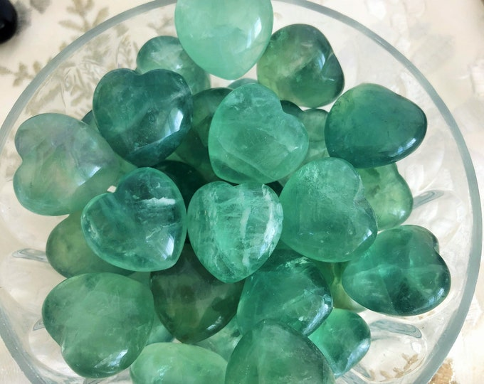 10 Green Fluorite Crystal Hearts -  Clear QUARTZ, Black Obsidian, Crystal Gemstone / Girlfriend Gift / Healing Crystals and Stones