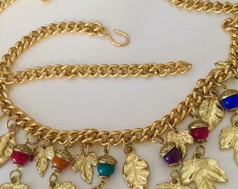 Vintage Glass Acorns and Leaves Gold Chain Belt One Size Fits All