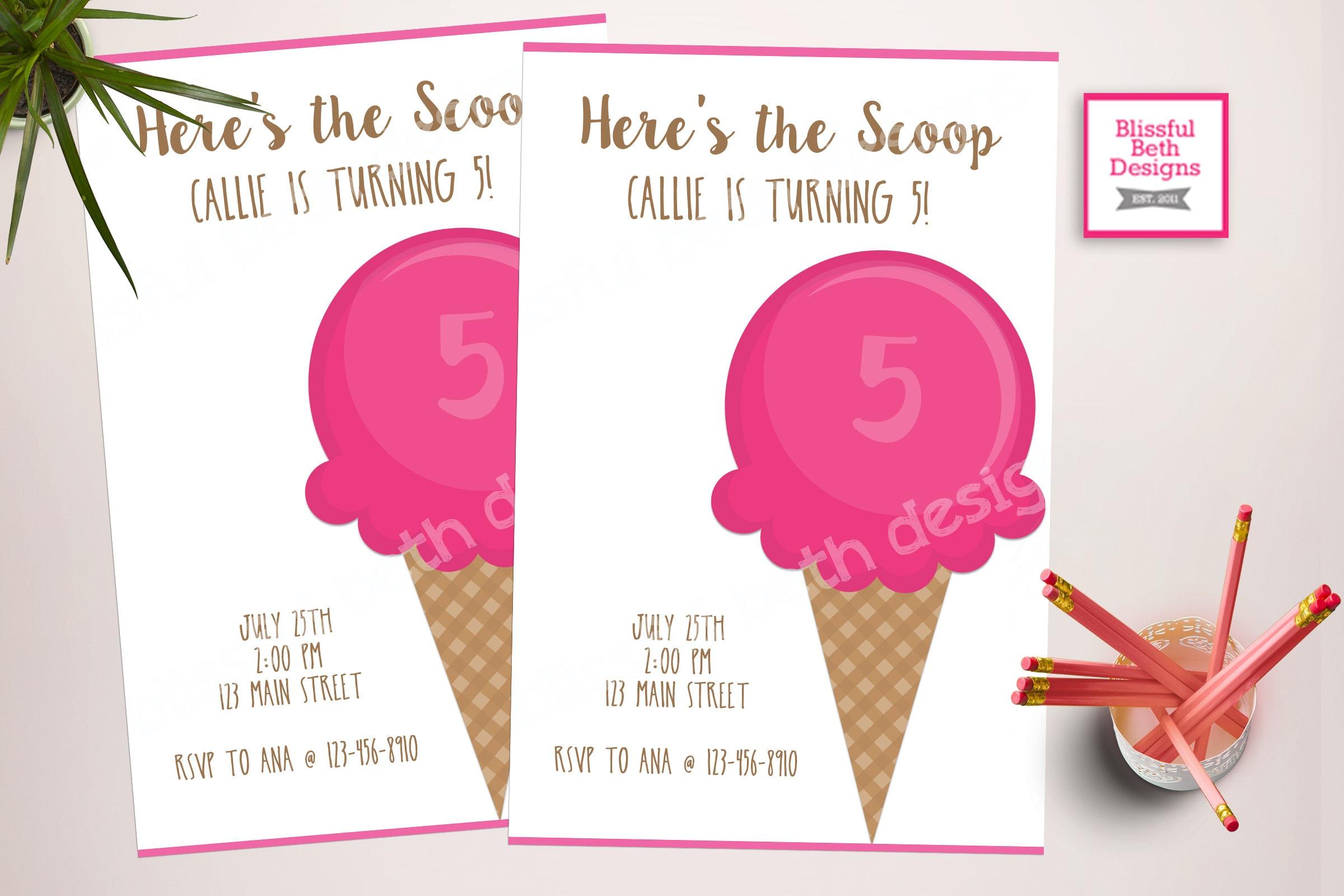 ICE CREAM BIRTHDAY Heres the Scoop Birthday Invitation Ice Cream