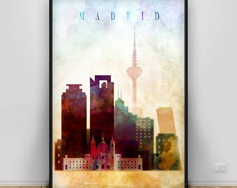 Madrid Watercolor Skyline Print, Spain watercolor poster, Home decor, Travel wall art, European city art, Wall Art Madrid, Spain Capital