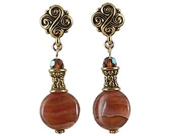 Brown Post Earrings - Rhodochrosite Earrings - Stone Post Earrings