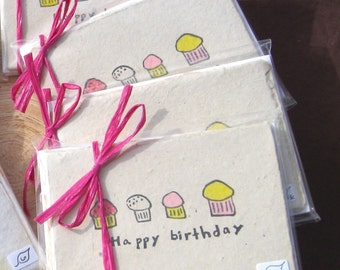 Happy birthday cupcake cards that grow set of 6