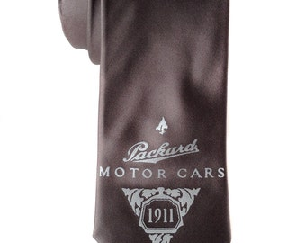 Packard Motor Cars men's tie. Detroit automotive history necktie. Your choice of colors. Silkscreened microfiber tie.