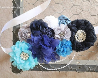 Blue Gray Maternity Sash, Boy Maternity Sash, Maternity Sash, Flower Sash, Belly Sash, Royal, Baby Blue, Navy, Turquoise, White, Gray, RTS