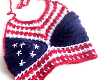 American flag Crochet Crop Top stars and stripes summer top Crochet Halter Top 4th of July beachwear festival tank top senoAccessory