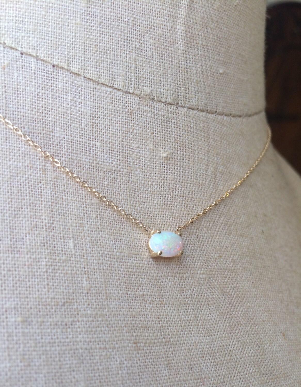 Australian Opal Necklace Gold Opal Necklace Opal Solitare