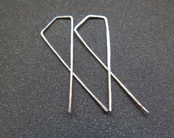Sample Sale. modern sterling silver hoop earrings. geometric hoops. silver wire jewelry.