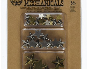 Prima Finnabair MECHANICALS - MINI STARS 36 Pcs Steampunk Embellishment #963354