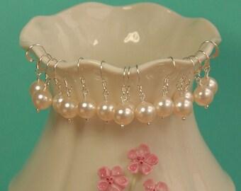Bridesmaid Pearl Earrings, Set of Seven Pair, Bridesmaid Gift, Bridesmaid Jewelry Gift, Swarovski 8mm Ivory Pearl, Sterling Silver Earring