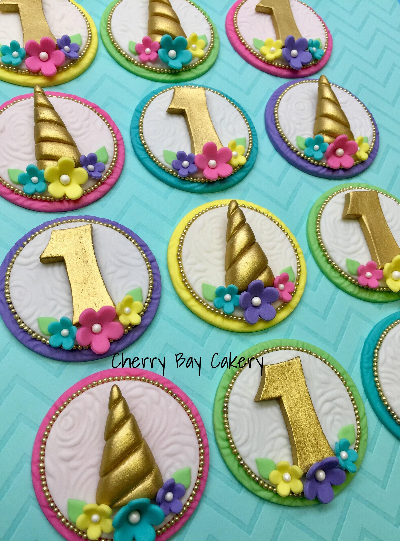 Fondant Unicorn Cupcake Toppers Unicorn Birthday Unicorn