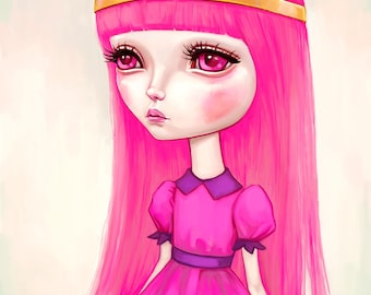 Adventure Time Princess Bubblegum wall art print - big eyes girl, pop surrealism, pop art, geek art painting, pink hair 8x8