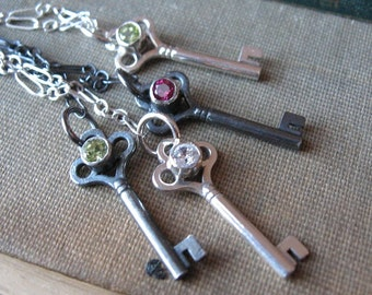 Peridot Key Necklace Gemstone Key Charm Necklace in Sterling Silver with Oxidized gothic necklace Steampunk Key Charm Birthstone Necklace