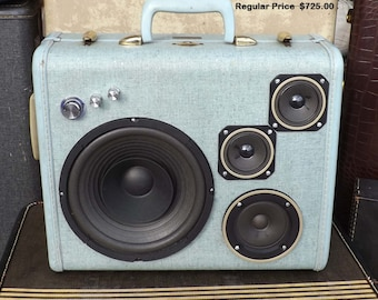 """SOLD Vintage Suitcase Boombox Rechargeable Battery MP3 Player """"CYCLOPS"""" by Hi-Fi Luggage Stereo Speaker Portable"""