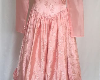 Vintage Pink Party, Pageant, Bridesmaid Dress,  Sheer Long Sleeves