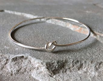 Tie The Knot Bangle, Knot Bracelet, Bangle for Brides, Wedding Day Jewelry, Bridesmaid Jewelry, Maid of Honor Gift, Bridal Party Bangle