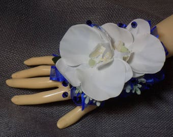 Wrist Corsage - Faux White Phalaenopsis Orchid Corsage With Royal Blue Ribbon And Accents - Prom Corsage - Wdding Corsage