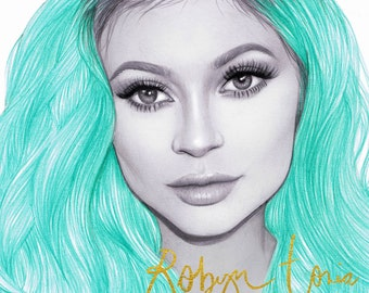 Kylie Jenner portrait illustration by Robyn tORIA