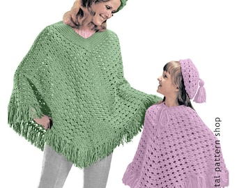 Beret Hat & Poncho Crochet Pattern- 1970s Vintage Womens and Girls Pattern PDF Instant Download C68