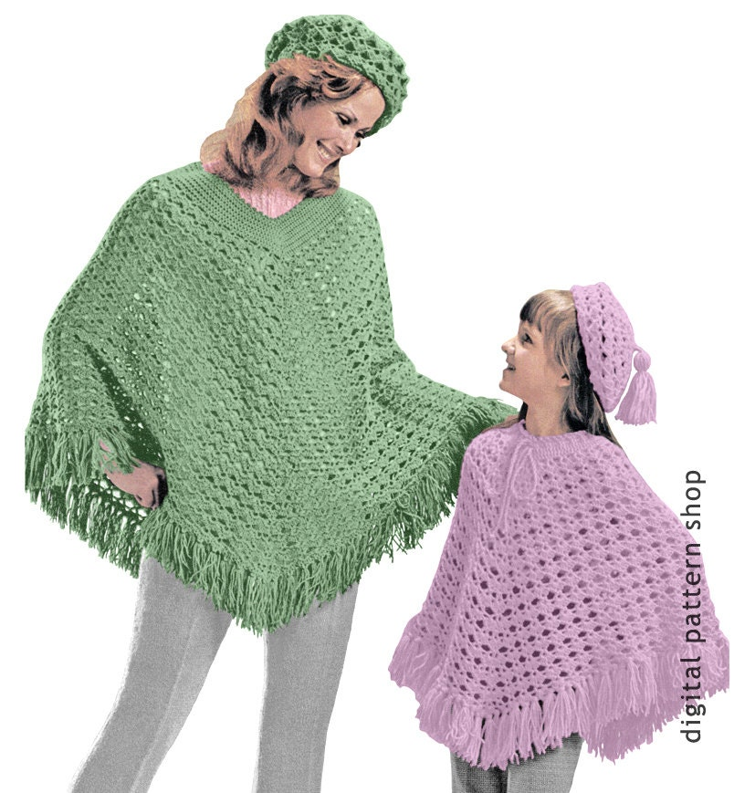 Beret Hat Poncho Crochet Pattern 1970s Vintage Womens And