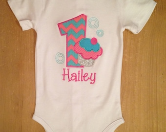Pink and Turquoise Birthday Cupcake Shirt or Baby Bodysuit