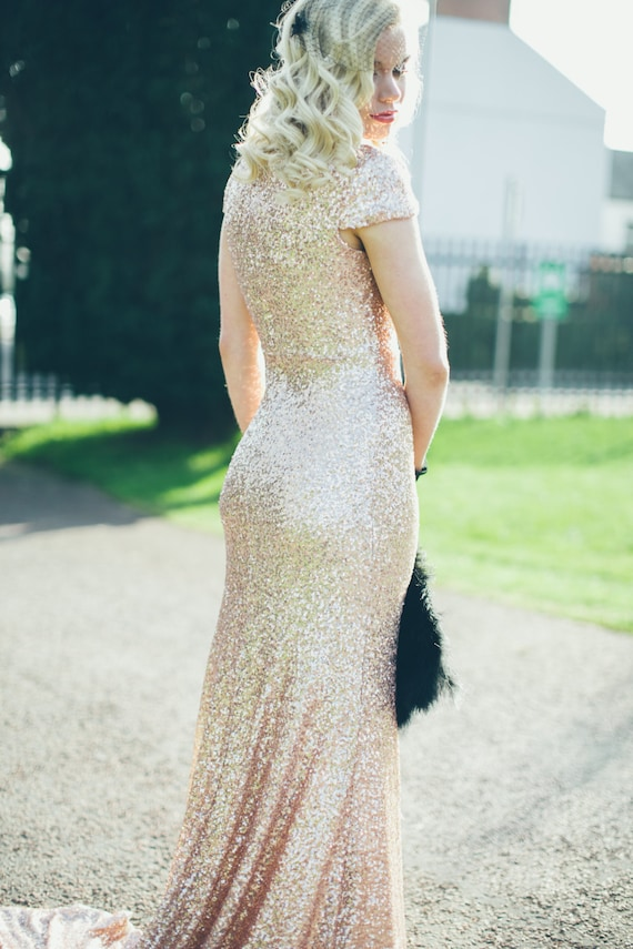 Bacall Champagne Gold Paillettes Old Hollywood Wedding Gown