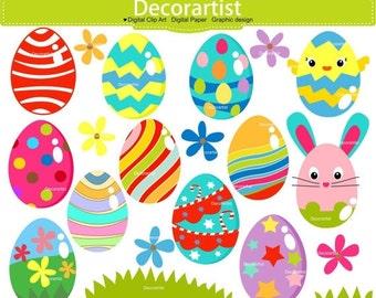 ON SALE Easter clip art, eggs clip art,easter eggs clip art, easter flower clip art,easter day, INSTANT Download