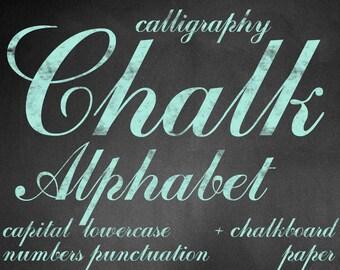 Digital Mint Chalkboards Alphabet for scrapbooking, chalk clipart, Papercrafts, Wedding Decor, Instant Download, printable lettering (6)