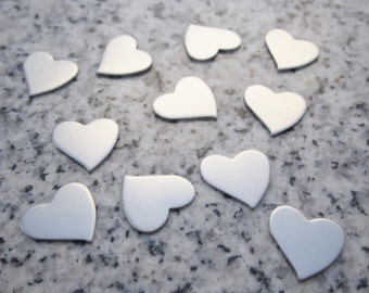"1/2"" x 1/2"" (13mm x 13mm) Tilted Heart Stamping Blank, 22g Stainless Steel - AWESOME Silver Alternative TH04-04"