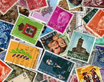 Spain Stamps,50 Diff, Spain Postage Stamps, Spanish Stamps, Spanish Postage Stamps, European Stamps, Spanish Postage Stamps, Spain