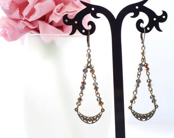 Crystal earrings, antique earrings, bronze earrings, long earrings, vintage earrings, handmade earrings, modern earrings, antique bronze