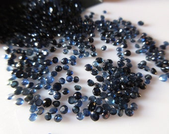 50 Pieces Rare Natural Tiny Sapphire Faceted Cabochons, 2mm Wholesale Round Blue Sapphire Stone, Sku-Rcl5