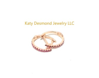 Pink Sapphire Huggie earrings in 14K White/Yellow/Rose Gold  ,Good for first , second and third holes  # 505375,#505376,#505377