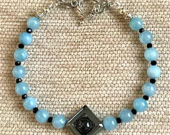 "FREE SHIPPING! Handmade 8"" Angelite and Spinel Gemstones Toggle Bracelet"